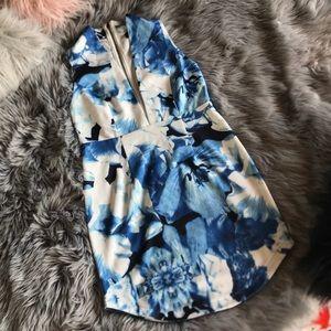 Lulus Deep V Blue Floral Sleeveless Dress